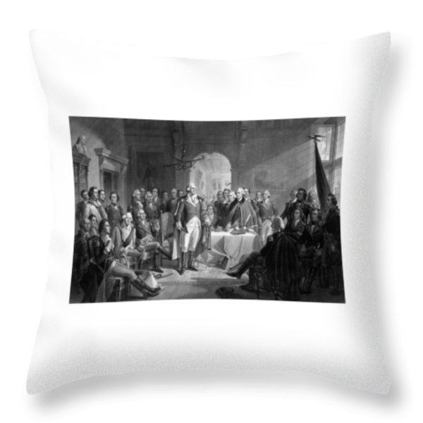 Washington Meeting His Generals Throw Pillow by War Is Hell Store