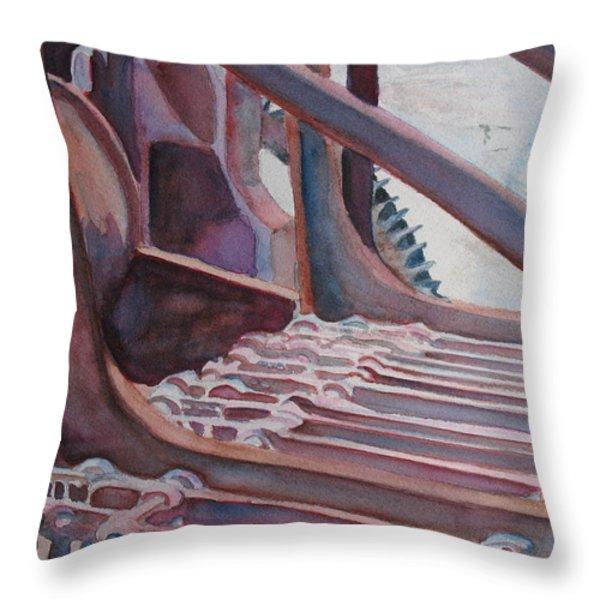 Washroom Gears Throw Pillow by Jenny Armitage
