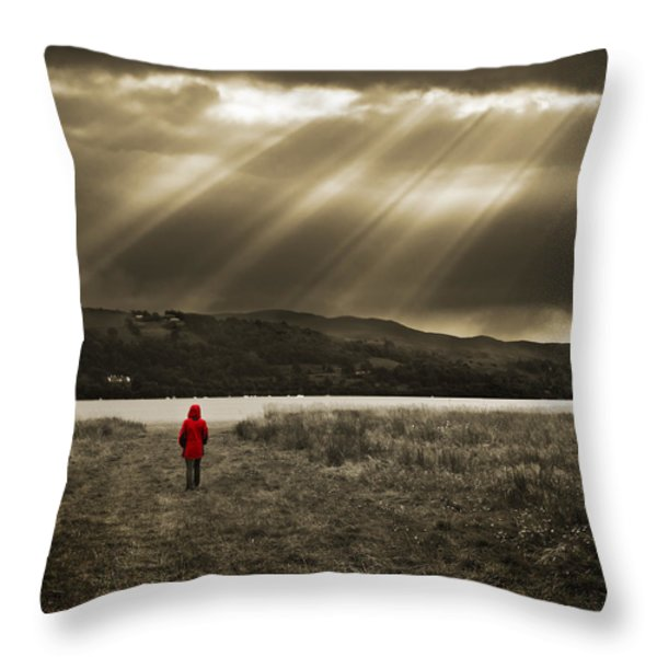 watching in red Throw Pillow by Meirion Matthias