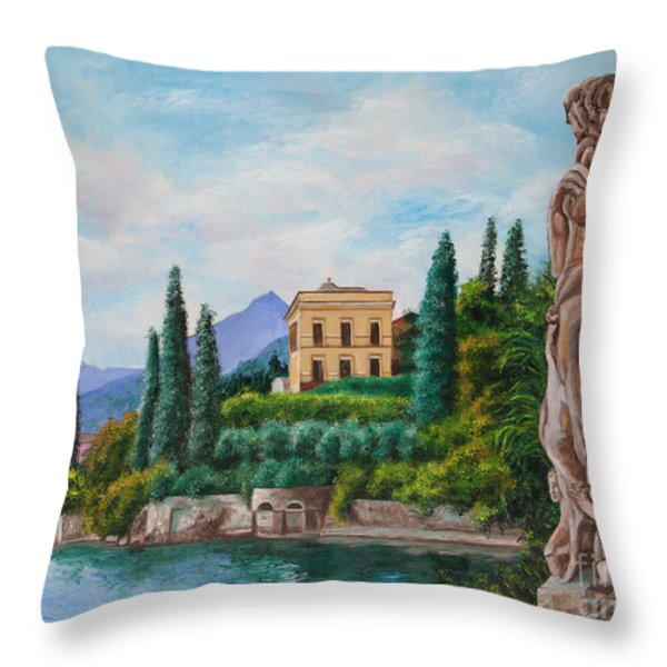 Watching Over Lake Como Throw Pillow by Charlotte Blanchard