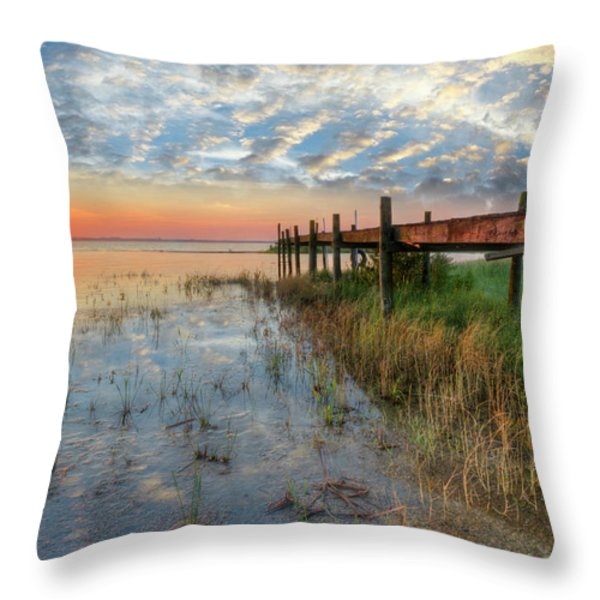 Watching The Sun Rise Throw Pillow by Debra and Dave Vanderlaan