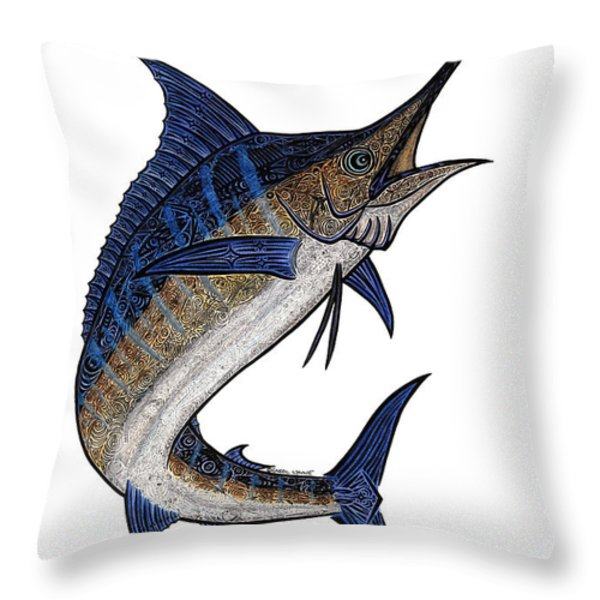 Water Color Tribal Marlin IIi Throw Pillow by Carol Lynne