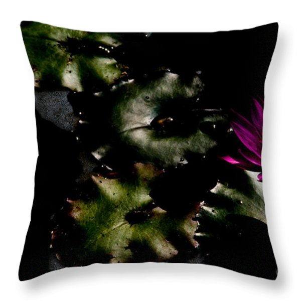 Water Lily At Dusk Throw Pillow by Venetta Archer