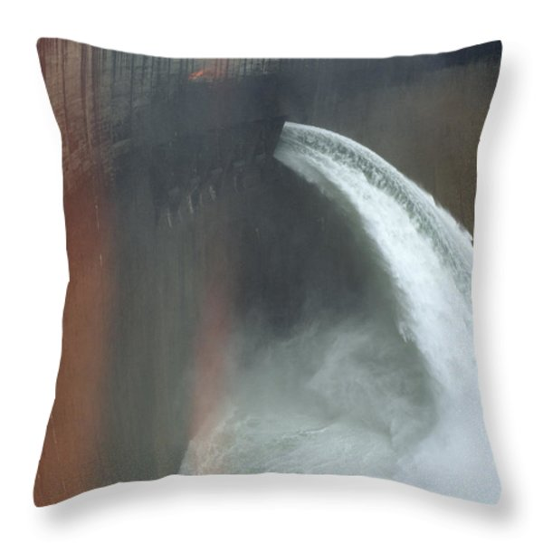 Water Pours Over The Kariba Dam Throw Pillow by James L. Stanfield