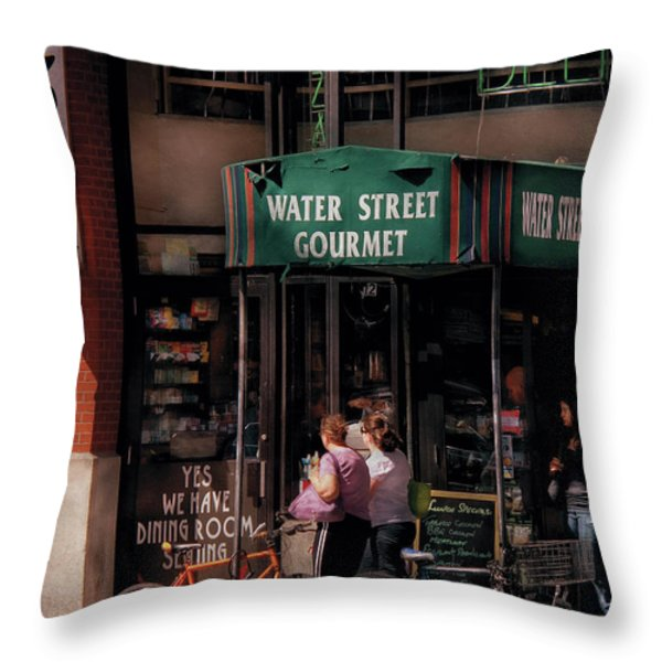Water St Gourmet Deli  Throw Pillow by Mike Savad