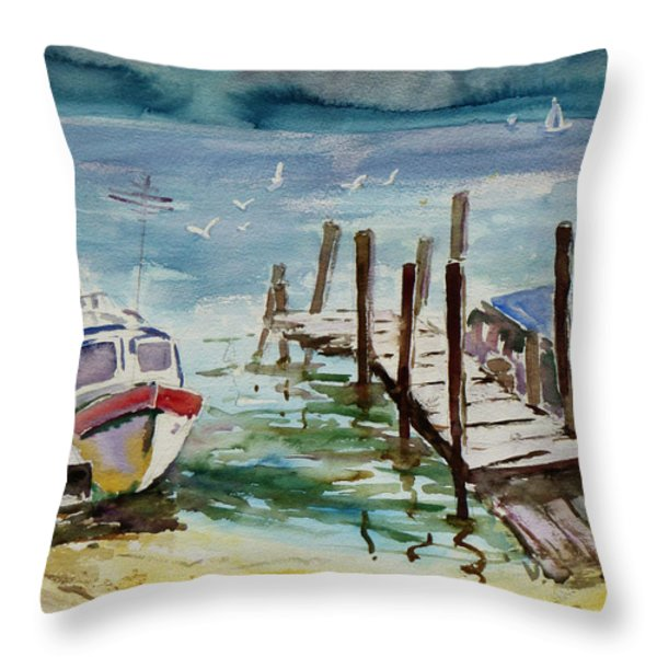Water Taxis Throw Pillow by Xueling Zou