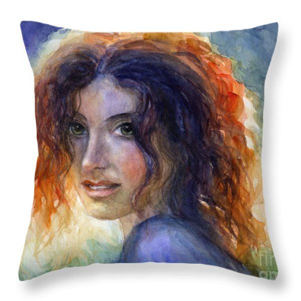Watercolor Sunlit Woman Portrait 2 Throw Pillow by Svetlana Novikova
