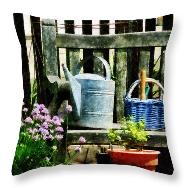 Watering Can And Blue Basket Throw Pillow by Susan Savad