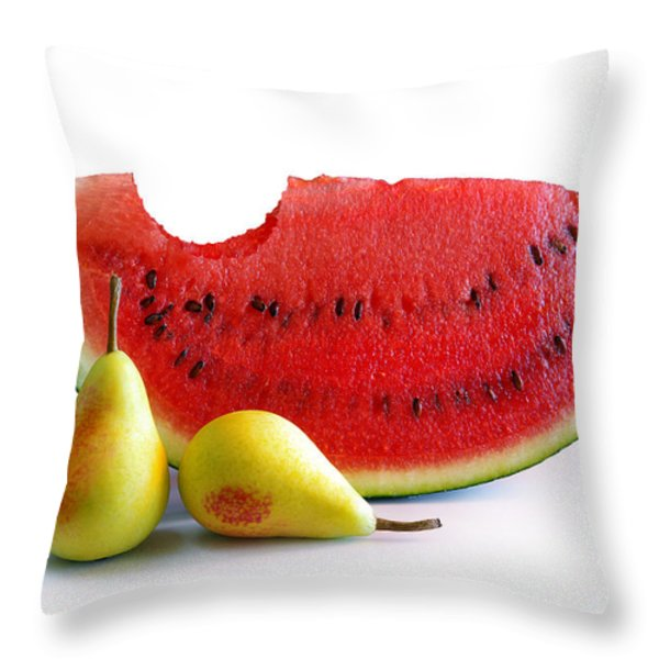 Watermelon And Pears Throw Pillow by Carlos Caetano