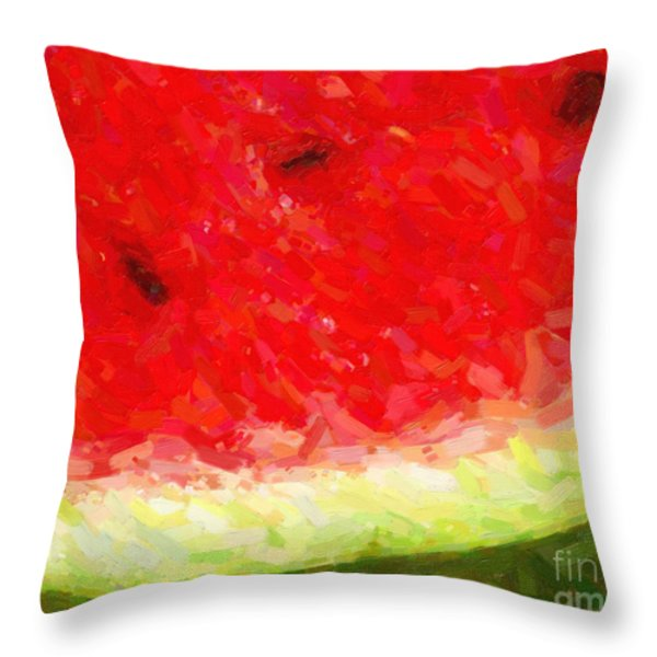 Watermelon With Three Seeds Throw Pillow by Wingsdomain Art and Photography