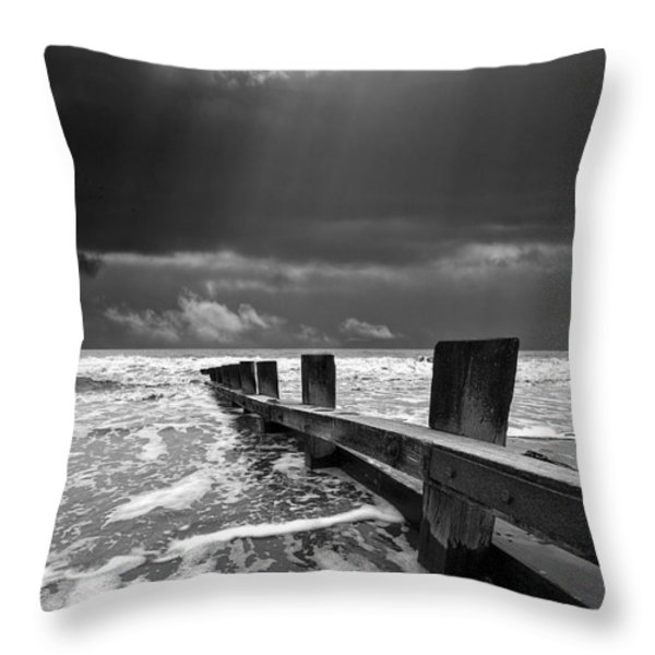 wave defenses Throw Pillow by Meirion Matthias
