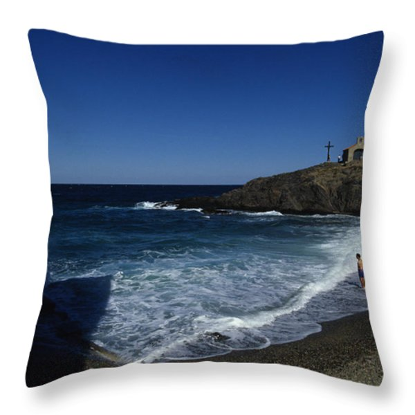 Waves Crash Onto The Beach Throw Pillow by Stacy Gold