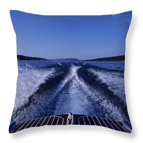 Waves Left In The Wake Of A Boat Throw Pillow by Kenneth Garrett