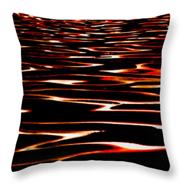 Waves on Fire Abstract Throw Pillow by David Patterson