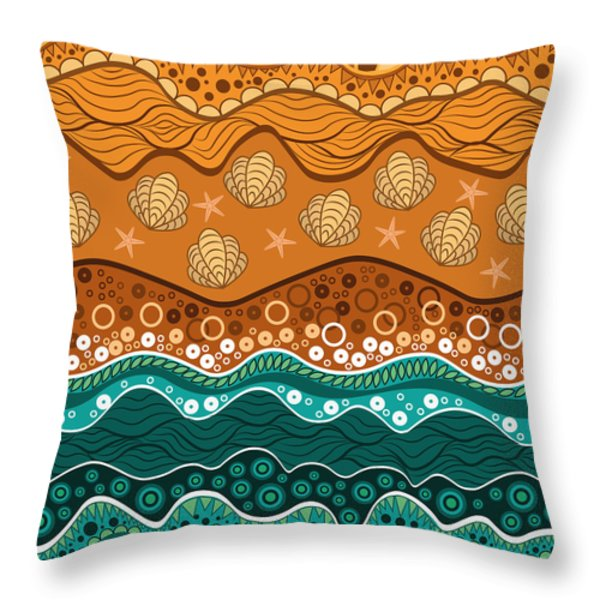 Waves Throw Pillow by Veronica Kusjen