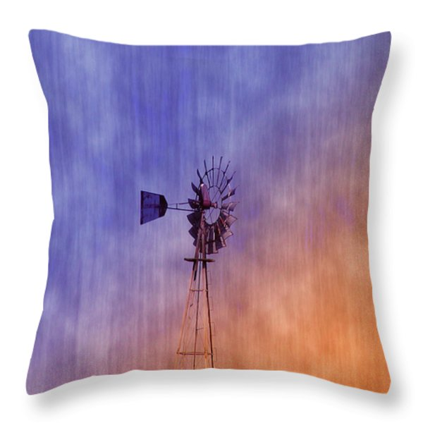 Weather Vane Sunset Throw Pillow by Bill Cannon