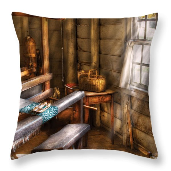 Weaver - The Weavers Room Throw Pillow by Mike Savad