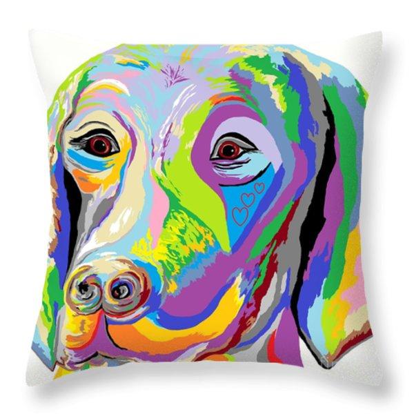 Weimaraner Throw Pillow by Eloise Schneider