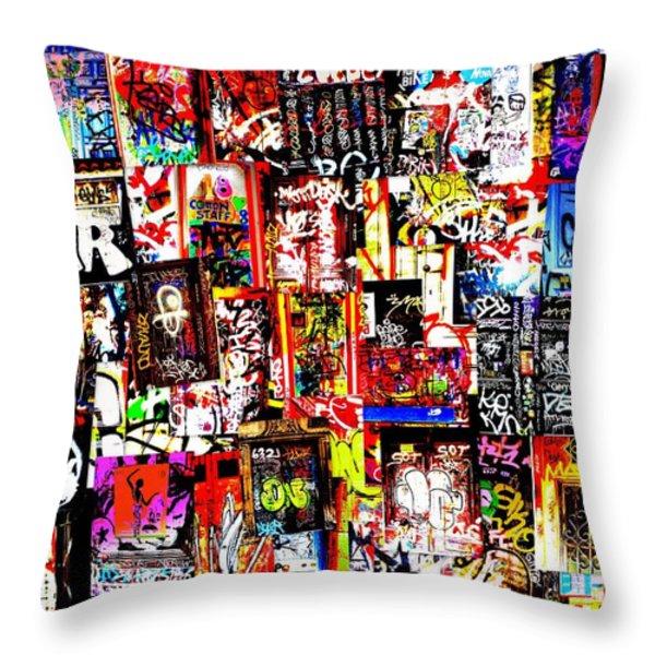 Welcome To Barcelona Graffiti Nirvana Throw Pillow by Funkpix Photo Hunter