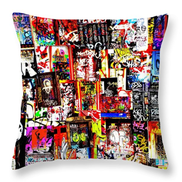 Welcome to Barcelona Graffiti Nirvana Throw Pillow by Funkpix Photo Hunter