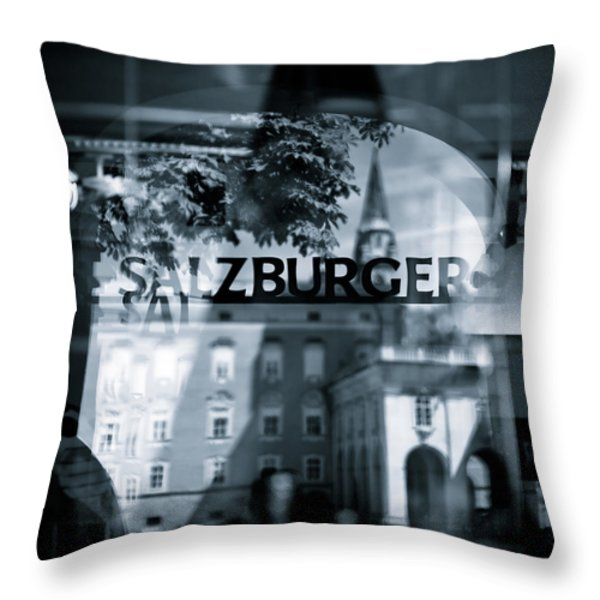 Welcome To Salzburg Throw Pillow by Dave Bowman