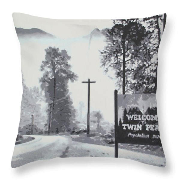 Welcome to twin Peaks Throw Pillow by Ludzska
