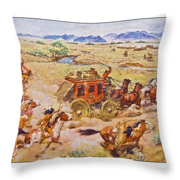 Wells Fargo Express Old Western Throw Pillow by Susan Leggett