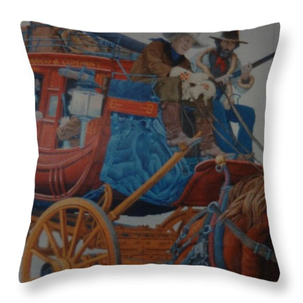 Wells Fargo Stagecoach Throw Pillow by Rob Hans