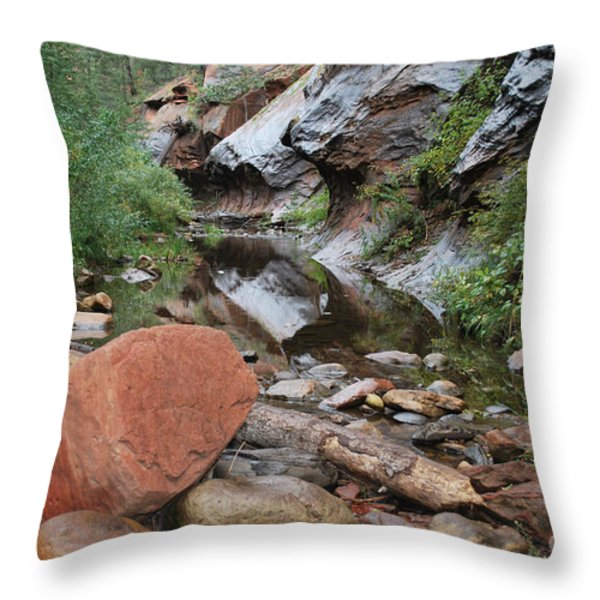 West Fork Trail River and Rock Horizontal Throw Pillow by Heather Kirk