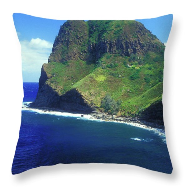 West Maui Ocean Cliff Throw Pillow by John Burk
