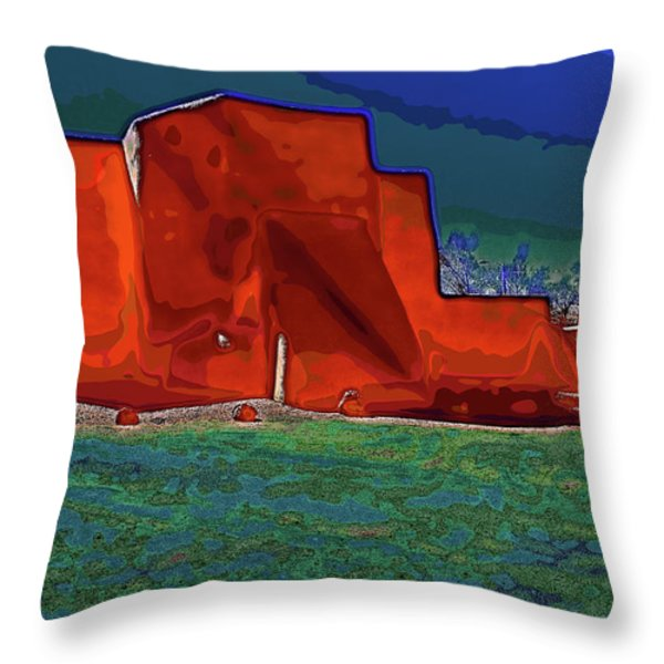 West view of church in Ranchos Throw Pillow by Charles Muhle