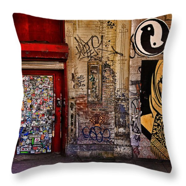 West Village Wall NYC Throw Pillow by Chris Lord