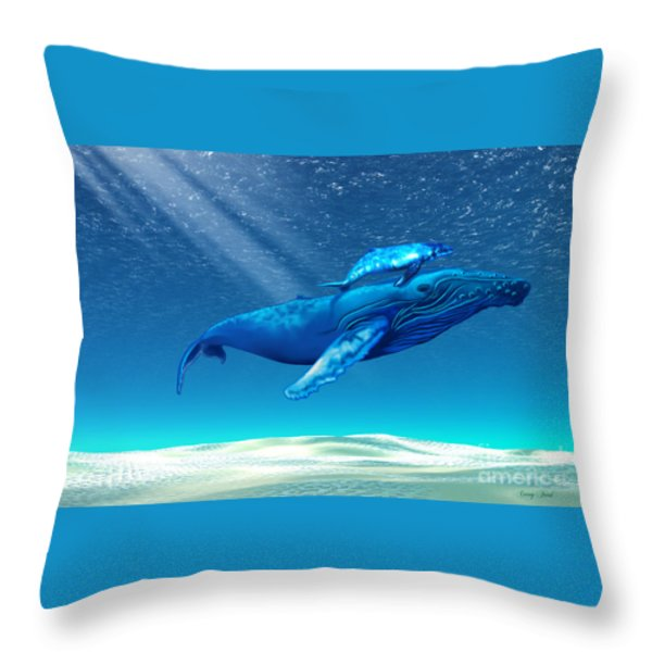 Whales Throw Pillow by Corey Ford