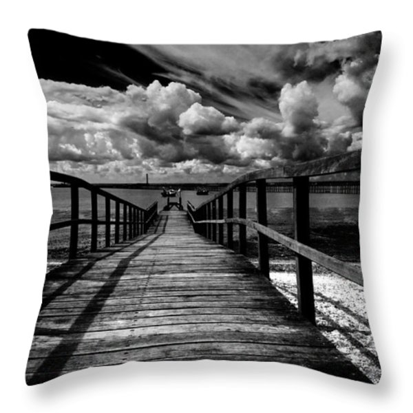 Wharf at Southend on Sea Throw Pillow by Sheila Smart