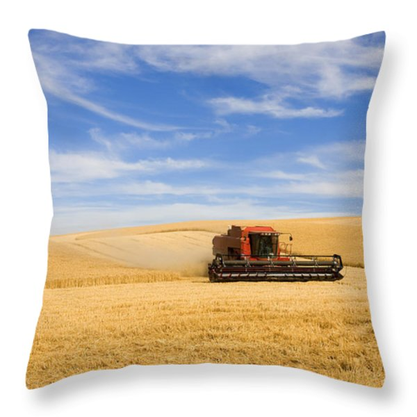 Wheat Harvest Throw Pillow by Mike  Dawson