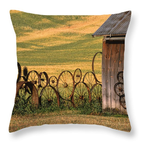 Wheels of the Palouse Throw Pillow by Sandra Bronstein