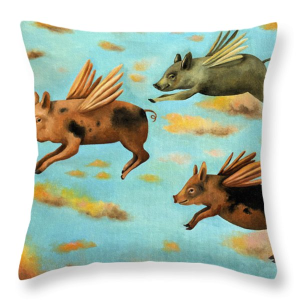When Pigs Fly Throw Pillow by Leah Saulnier The Painting Maniac