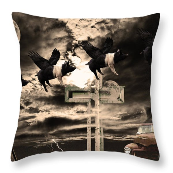 When Pigs Fly Throw Pillow by Wingsdomain Art and Photography