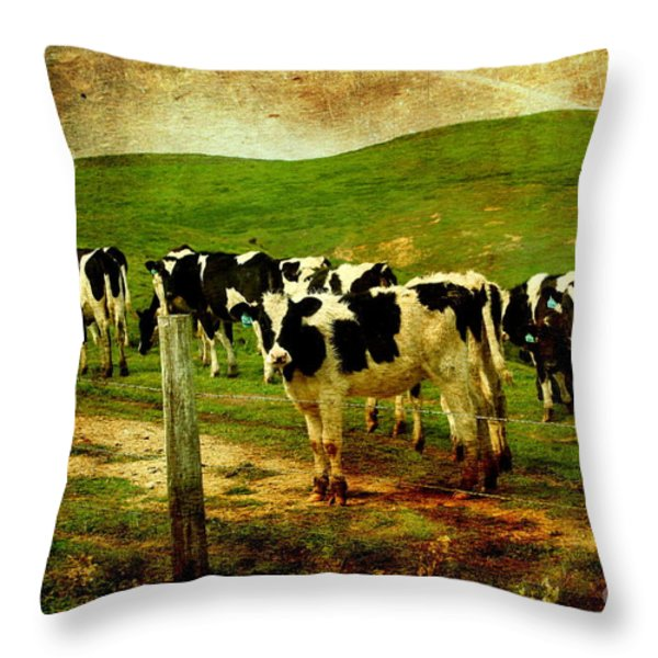 When The Cows Come Home . Photoart Throw Pillow by Wingsdomain Art and Photography
