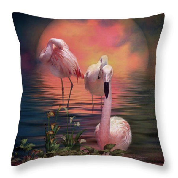 Where The Wild Flamingo Grow Throw Pillow by Carol Cavalaris