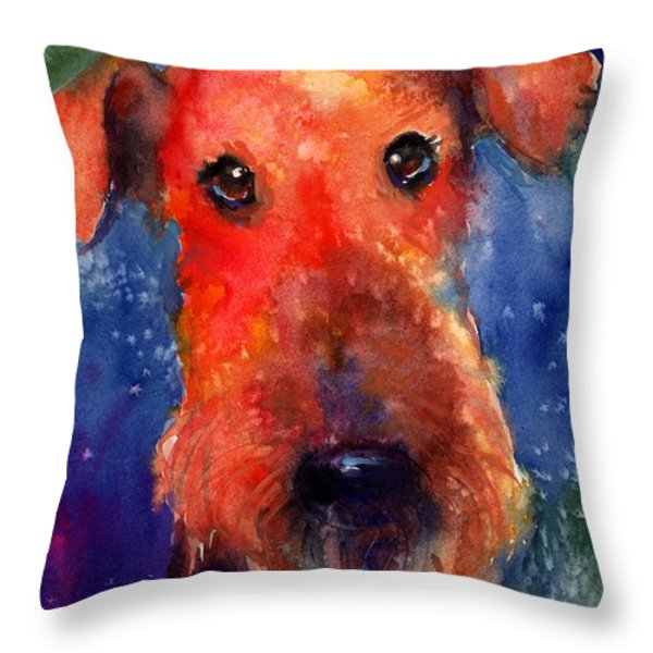 Whimsical Airedale Dog Painting Throw Pillow by Svetlana Novikova