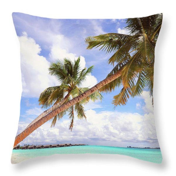 Whispering Palms. Maldives Throw Pillow by Jenny Rainbow
