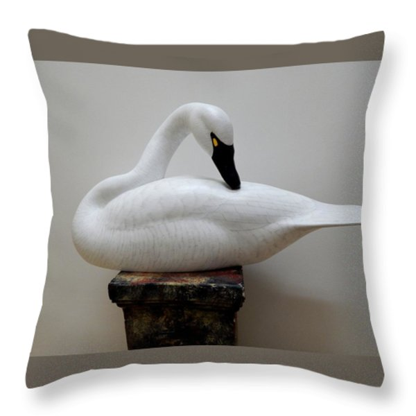 Whistling Tundra Swan Preening Throw Pillow by Robert G Kerr