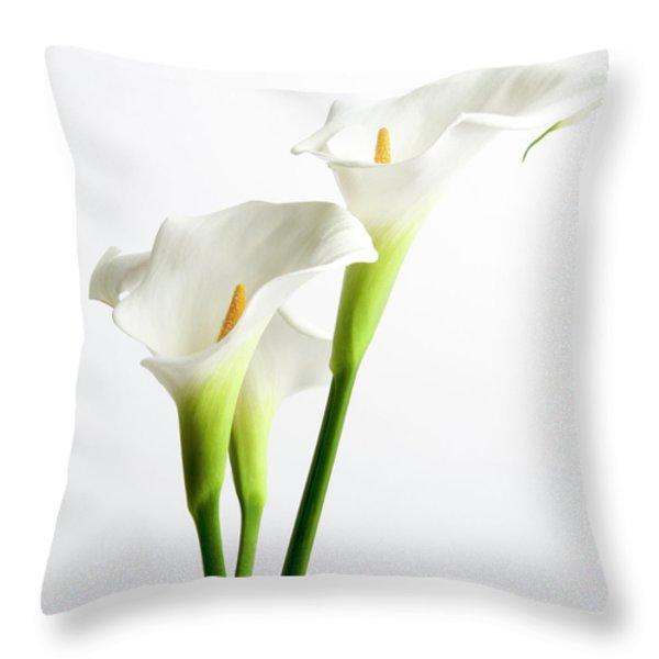 White Arums Throw Pillow by Bernard Jaubert