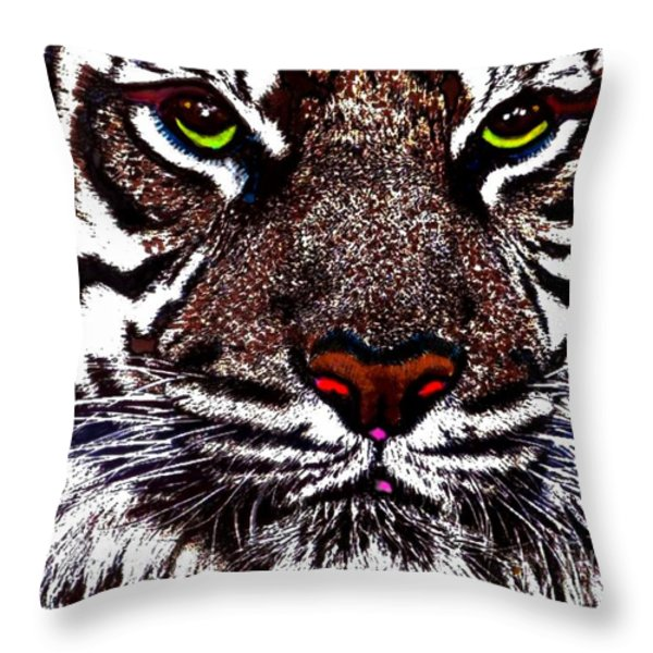 White Bengal Throw Pillow by Wbk