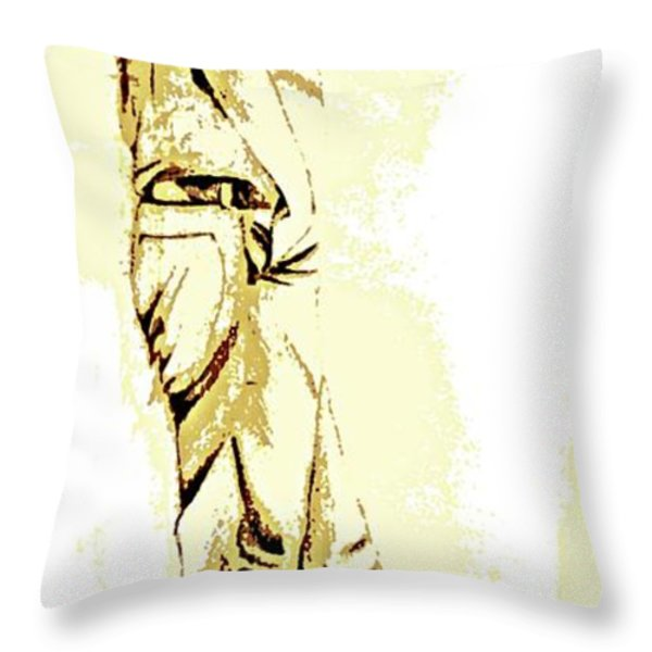 White Boy Standing On Table Throw Pillow by Sheri Parris