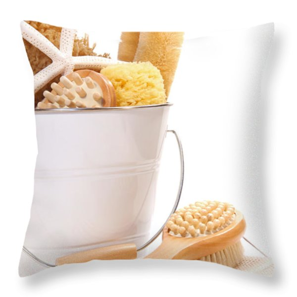 White bucket filled with sponges and scrub brushes  Throw Pillow by Sandra Cunningham