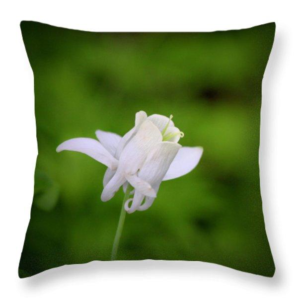 White Columbine Squared Throw Pillow by Teresa Mucha