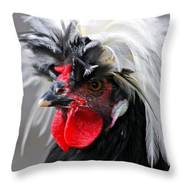 White Crested Black Polish Cockerel Throw Pillow by Karon Melillo DeVega