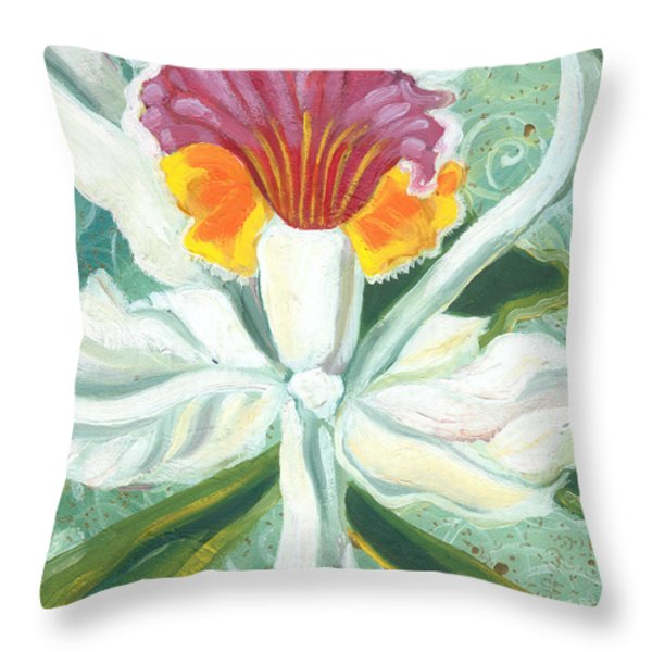 White Orchid Throw Pillow by John Keaton